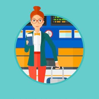 Mulher com mala e bilhete no aeroporto.