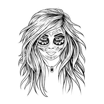 Mulher com maquiagem de catrina, caveira mexicana