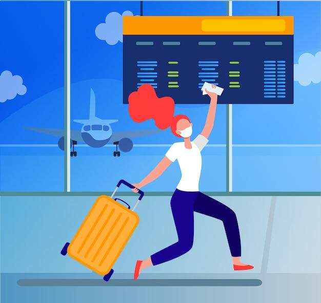 Mulher com máscara comemorando cancelamento de proibição de viagens. passageiro correndo em ilustração vetorial plana de aeroporto. atrasado para embarque, vírus e viagem