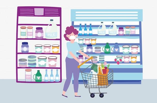 Mulher com máscara e ilustração de comida de supermercado de carrinho de compras
