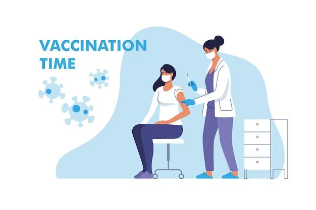 Mulher com máscara facial sendo vacinada contra coronavírus no hospital