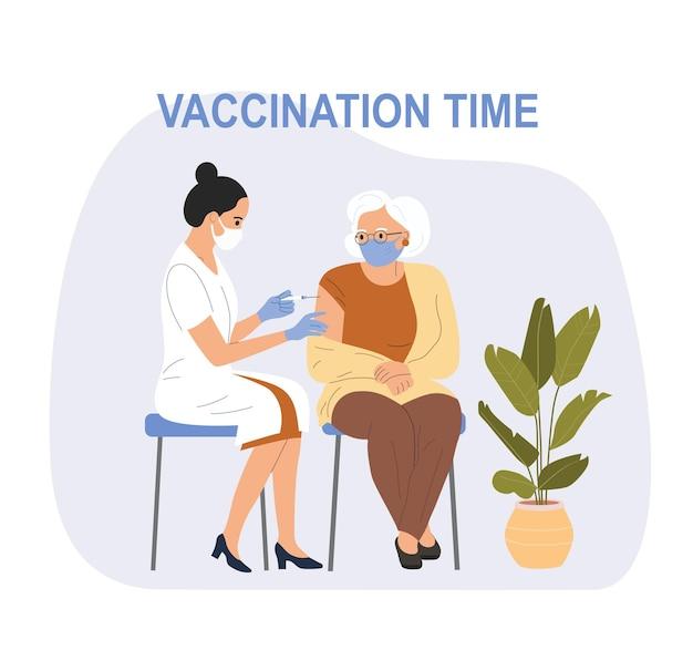 Mulher com máscara facial sendo vacinada contra covid-19 para uma mulher idosa. ilustração vetorial