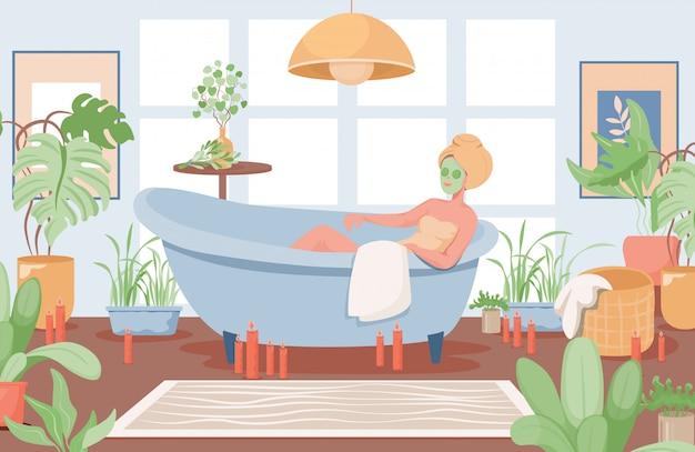 Mulher com máscara facial tomando banheira ilustração plana. design de interiores do banheiro.
