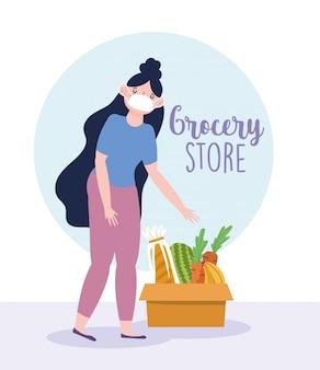 Mulher com máscara médica e caixa de papelão com ilustração de mercearia de alimentos