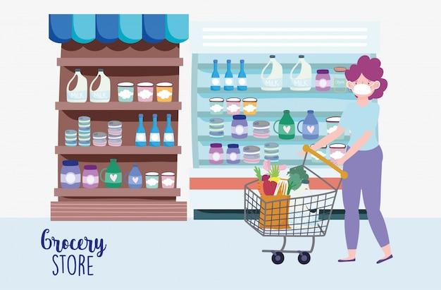 Mulher com máscara médica e carrinho de compras no mercado, ilustração de mercearia