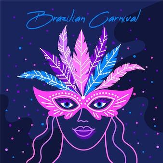 Mulher com máscara na noite mão desenhada carnaval brasileiro