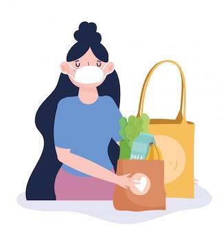 Mulher com máscara protetora e sacos de papel comida mercearia ilustração