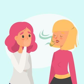 Mulher com mau hálito conversando com um amigo