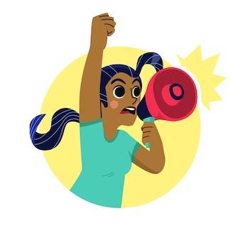 Mulher com megafone gritando design