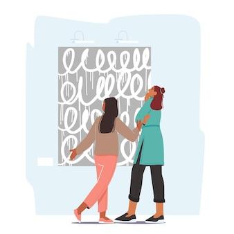 Mulher com menina curtindo ver exposições de obras de arte criativas em um museu ou exposição, mãe e filha na galeria de arte