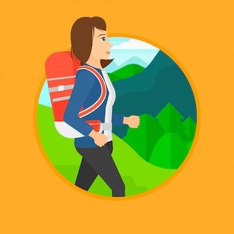 Mulher com mochila caminhadas.