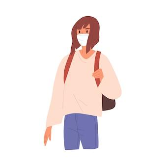 Mulher com mochila usando ilustração plana de máscara facial.