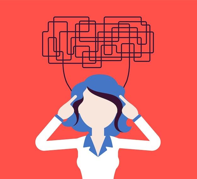 Mulher com pensamentos confusos, incapaz de pensar com clareza para tomar uma decisão. idéias complicadas, caóticas em desordem, gerente perplexo com as tarefas, cabeça cheia de problemas. ilustração vetorial, personagem sem rosto