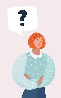 Mulher com pergunta no balão de fala ou na nuvem