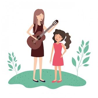 Mulher com personagem de avatar filha e guitarra