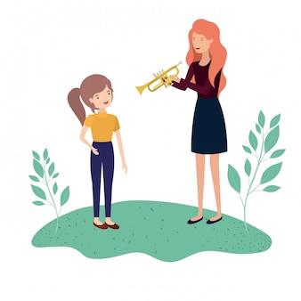 Mulher com personagem de avatar filha e trompete