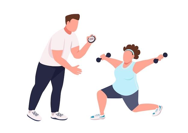 Mulher com personagem sem rosto de instrutor de fitness cor plana