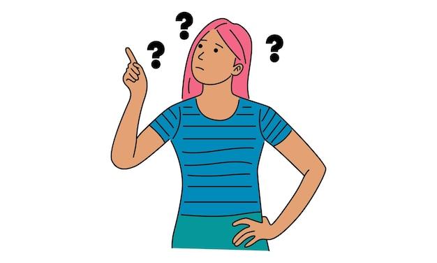 Mulher com pontos de interrogação