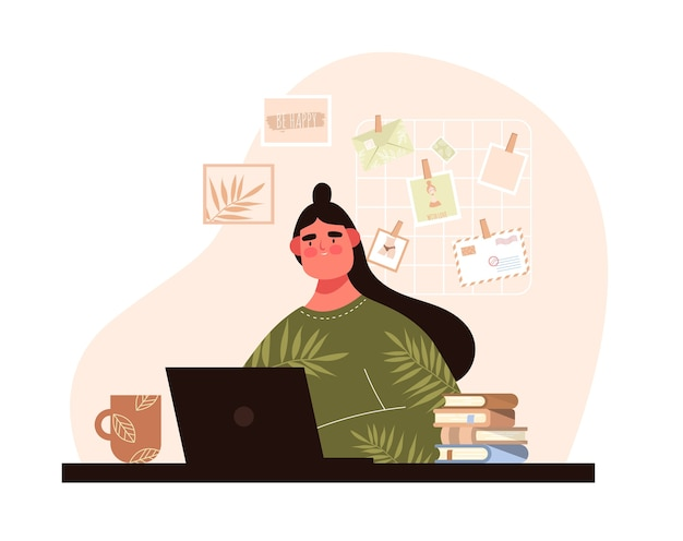 Mulher com portátil. senta-se à mesa com café. comunicação online. mídia social. educação em informática
