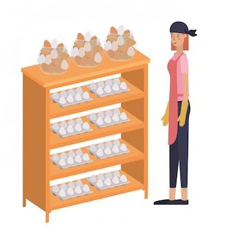 Mulher com prateleira de ovo isolado ícone