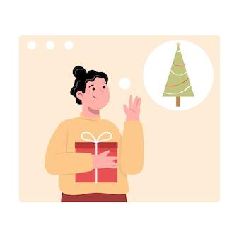 Mulher com presente de natal online