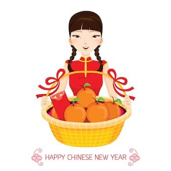 Mulher com presentes de ano novo chinês, celebração tradicional, china, feliz ano novo chinês