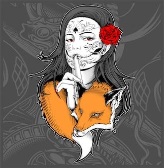 Mulher, com, raposa, mão, desenho, vetorial
