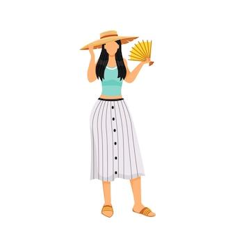 Mulher com roupa de verão design plano cor personagem sem rosto