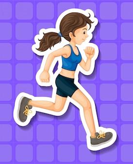 Mulher com roupas de esporte correndo