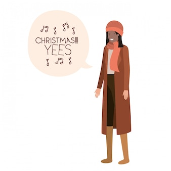 Mulher, com, roupas inverno, e, bolha fala