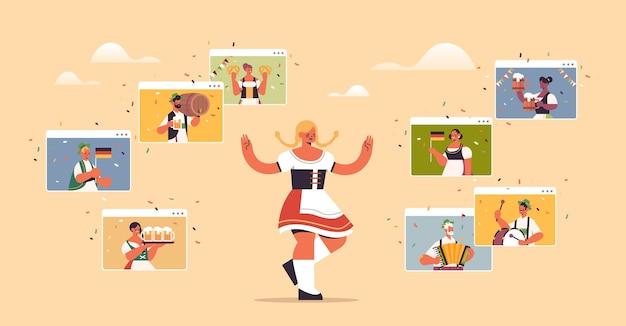 Mulher com roupas tradicionais comemorando festa do festival oktoberfest, tendo um encontro virtual com amigos nas janelas do navegador da web durante a videochamada