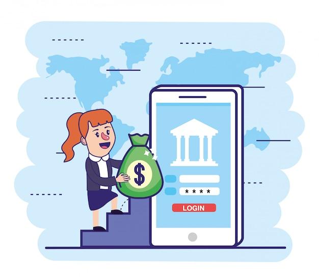 Mulher com saco de dinheiro e banco digital de smartphone