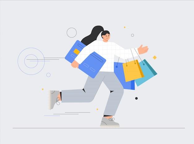 Mulher com sacolas de compras e cartões de crédito.