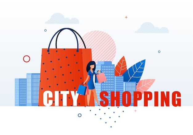Mulher com sacos de compras na paisagem urbana.