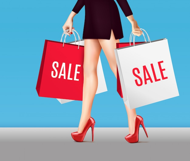 Mulher com sacos de compras realista