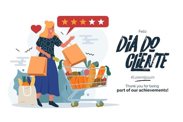Mulher com seu dia de cliente cheio de carrinho de compras