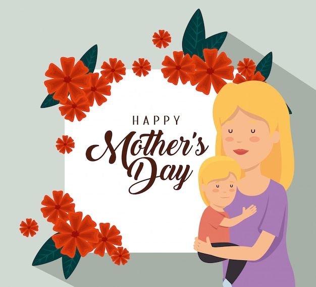 Mulher com seu filho e decoração de flores para o dia das mães