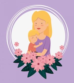 Mulher com seu filho e flores com folhas para celebração