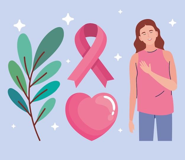 Mulher com símbolos de câncer de mama