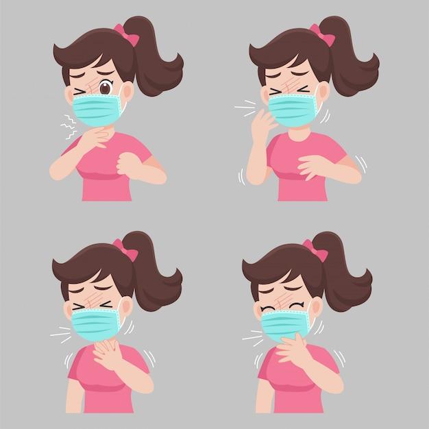 Mulher com sintomas diferentes de doenças - febre, tosse, dor de garganta