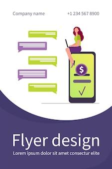 Mulher com smartphone conversando e enviando dinheiro