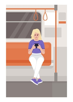 Mulher com smartphone em ilustração vetorial plana de trem. mulher segurando o telefone no transporte público. pessoa senta-se no trânsito na zona wi-fi. personagens de desenhos animados 2d de passageiros do metro para uso comercial