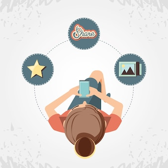 Mulher, com, smartphone, social, mídia, ícones