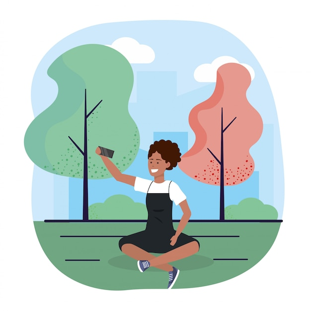 Mulher, com, smartphone, trechnology, e, assento, com, árvores