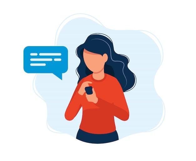 Mulher, com, smartphone