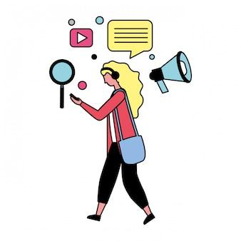 Mulher, com, social, mídia, ícones