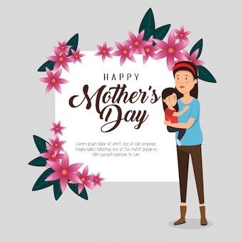 Mulher com sua filha e cartão para dia das mães