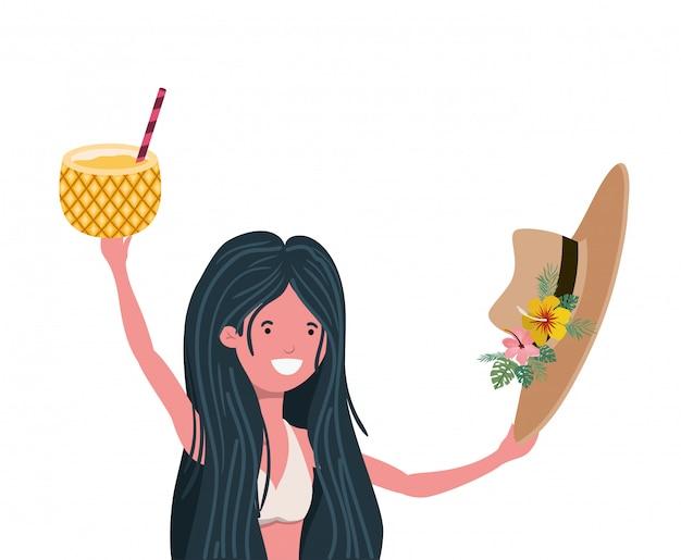 Mulher, com, swimsuit, e, abacaxi, coquetel, em, mão