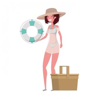 Mulher, com, swimsuit, e, lifesaving, flutuador, em, branca