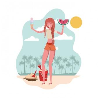 Mulher, com, swimsuit, e, porção melancia, em, mão